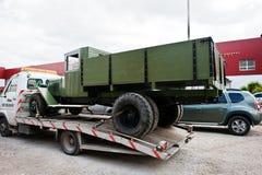 Podol, Ukraine - May 19, 2016: Soviet military truck ZIS-5 V, pr Stock Photos