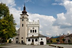 Podolinec town in northern Slovakia. A church in Podolínec - Slovakia. The town lies near the Poprad River, in the Spiš region stock photography