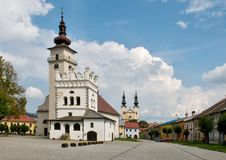 Podolinec town in northern Slovakia. A churches in Podolínec - Slovakia. The town lies near the Poprad River, in the Spiš region.In the backround royalty free stock photos