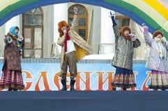 Λαϊκό ansamble Lubava σε μια σκηνή Στοκ Εικόνες
