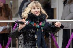 Het zingen van Veronika Dirakova Royalty-vrije Stock Fotografie