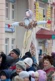 Maslenitsa doll to burn out stock photos