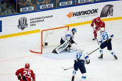 H. Karlsson (1) catch a puck. PODOLSK, RUSSIA - SEPTEMBER 10, 2017: H. Karlsson (1) catch a puck on hockey game Vityaz vs Barys on 10th Russia KHL championship Stock Photography
