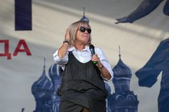 Nadeghda Melnik sing a song on Day of the Moscow city. PODOLSK, RUSSIA - SEPTEMBER 9, 2018: Nadeghda Melnik sing a song on Day of the Moscow city. Event in royalty free stock photography