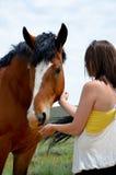 podpalana szkicu konia kobieta Obrazy Royalty Free