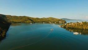 podpalany denny tropikalny Widok z lotu ptaka: Seascape Busuanga, Palawan, Filipiny obrazy stock