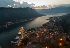 podpalany kotor Montenegro ranek czas Obrazy Stock