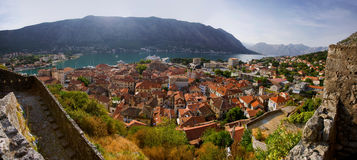 podpalany kotor Montenegro widok Obrazy Royalty Free