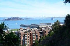 Podpalany most nad zatoką w San Fransisco, Kalifornia Obraz Stock