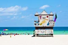 podpalany plażowy budy Miami południe zegarek drewniany Zdjęcie Stock