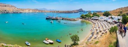 podpalanych lindos panoramiczny widok Lindos, Rhodes, Grecja fotografia stock