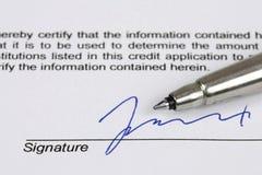 podpis Zdjęcie Stock