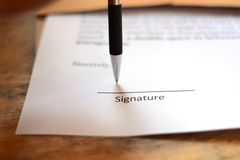 Podpis z piórem Fotografia Stock