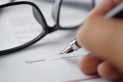 podpisanie formularza Zdjęcie Stock