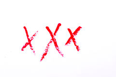 Podpisu XXX dorosły odizolowywający na białym tle Fotografia Royalty Free