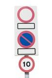 Podpisuje Żadny parking, żadny wejście, prędkości ograniczenie Zdjęcie Stock
