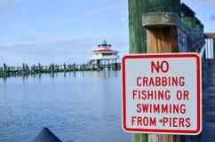 Podpisuje dla żadny crabbing, żadny połowu i żadny dopłynięcia od mola, Choptank Rzeczna latarnia morska w Maryland zamazywał w t fotografia royalty free