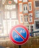 Podpisuje dla rower ścieżki i motocykl dla zaprzecza obraz stock
