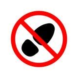 Podpisuje, ikona zabrania chodzić w brudnych ulicznych butach Czerwona insygnia z czerni podeszwą lub folwarczek stopą Wektorowa  ilustracja wektor