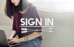 Podpisuje rejestracja kontakt Wewnątrz Prenumeruje pojęcie zdjęcie royalty free
