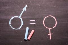 Podpisuje, symbol mężczyzna i kobieta Pojęcie równość zdjęcie stock
