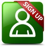 Podpisuje up członek ikony zieleni kwadrata guzika Fotografia Stock
