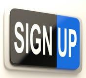 Podpisuje Up guzika Pokazuje strony internetowej rejestrację Obraz Royalty Free