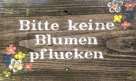 Podpisuje, zadawala, żadny kwiatu wybór, niemiec Zdjęcie Royalty Free