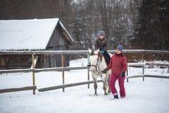 Training of children riding in the framework of revival program of the Cossacks in the Leningrad region. Stock Images