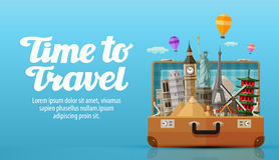 Podróż świat otwiera walizkę z punktami zwrotnymi, wektorowa ilustracja ilustracji