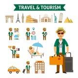 Podróż świat, płaska projekt ilustracja royalty ilustracja