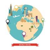 Podróż świat Wycieczka świat Wycieczka samochodowa Turystyka Wektorowy illus ilustracji