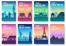 Podróż światowa broszurka z typografia setem Anglia kraju ikona Anglia kraj India kraj Niemcy kraj Obrazy Stock