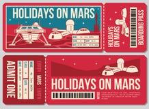 Podróż alegata wektoru bilet Wakacje na Mars promo akci royalty ilustracja