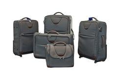 Podróż bagaż ustawiający z samolotem w tle Fotografia Royalty Free