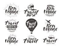 Podróż, etykietka set Podróży ikona lub symbol Piękna ręcznie pisany literowanie wektoru ilustracja royalty ilustracja