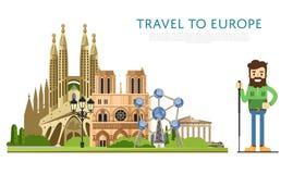 Podróż Europu sztandar z sławnymi przyciąganiami Zdjęcie Stock