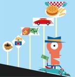Podróż fast food royalty ilustracja