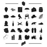 Podróż, Grecja, dawność i inna sieci ikona w czerni, projektujemy alkohol, zwierzęce ikony w ustalonej kolekci royalty ilustracja