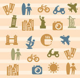 Podróż i punkt zwrotny ikony Obrazy Royalty Free