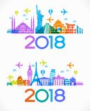 Podróż 2018 i szczęśliwy nowy rok projektujemy tło z ikonami i turystyka punktami zwrotnymi Fotografia Royalty Free
