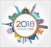 Podróż 2018 i szczęśliwy nowy rok projektujemy tło z ikonami i turystyka punktami zwrotnymi Zdjęcie Stock