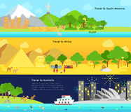 Podróż i turystyka główny kontynent Ameryka Południowa, Afric royalty ilustracja