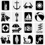 Podróż i turystyka, lato wektorowe ikony ustawiać na gr Obrazy Stock