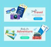 Podróż i turystyka Reklama sztandar ilustracji