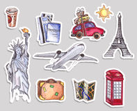Podróż i turystyka szablon Londyński czerwony telefoniczny pudełko, statua wolności wieża eifla beak dekoracyjnego latającego ilu Zdjęcie Stock