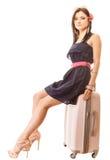 Podróż i Wakacje Kobieta z walizka bagażu torbą Fotografia Royalty Free