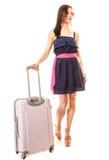 Podróż i Wakacje Kobieta z walizka bagażu torbą Obraz Royalty Free