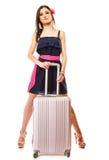 Podróż i Wakacje Kobieta z walizka bagażu torbą Zdjęcia Royalty Free