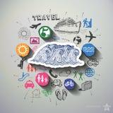 Podróż kolaż z ikony tłem Obraz Royalty Free